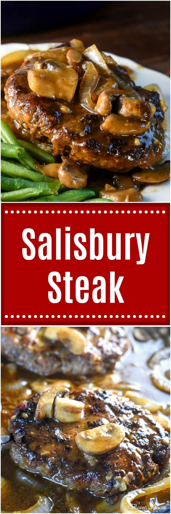 This homemade Salisbury Steak is a ground beef patty with onions, mushrooms, and a brown Salisbury Steak gravy, and is pure comfort food.