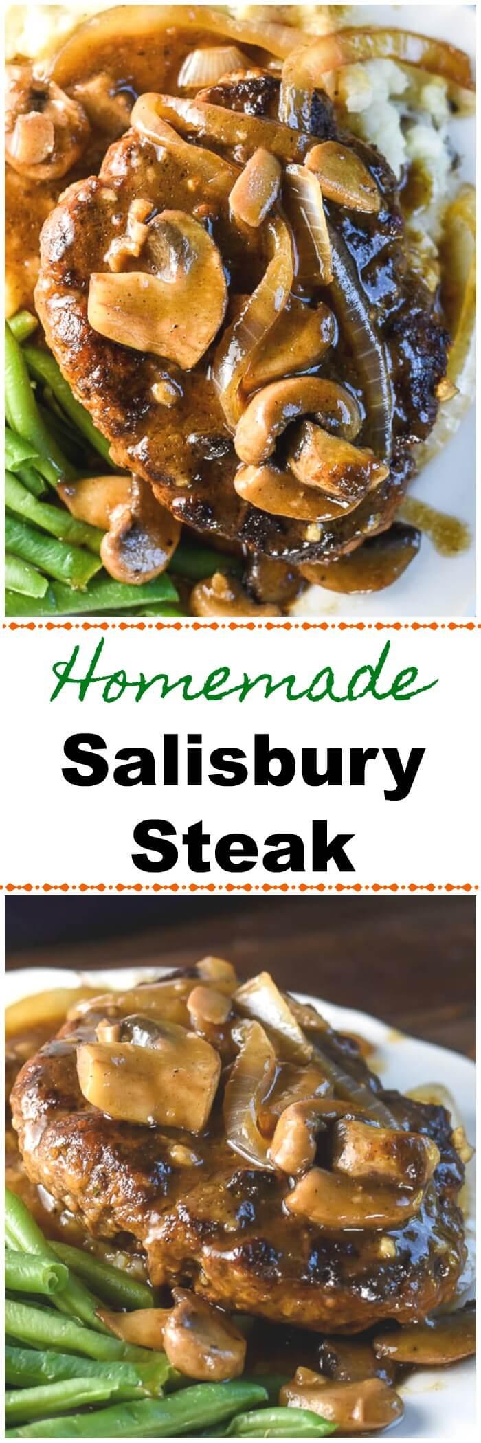Salisbury Steak Homemade with onions, mushrooms and brown gravy.