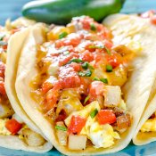 Breakfast Tacos with Potatoes, Eggs and Cheese