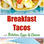 Breakfast Tacos with Potatoes, Eggs, and Cheese Long Pin Flavor Mosaic