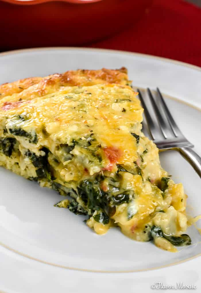 Crustless Spinach Quiche - Flavor Mosaic