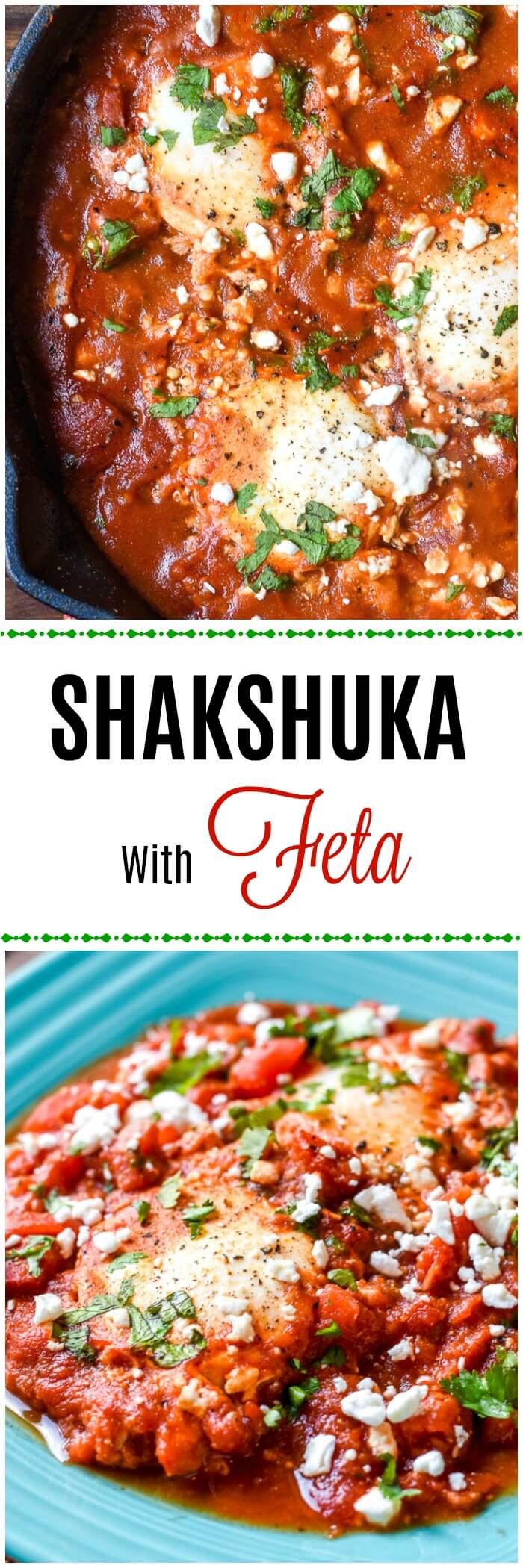 Shakshuka with Feta - Mediterranean Breakfast with eggs in a spicy tomato sauce