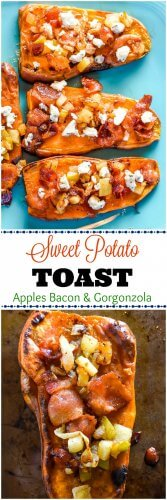 Sweet Potato Toast Topped with Apples Bacon Gorgonzola