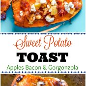 Sweet Potato Toast Topped with Apples Bacon Gorgonzola