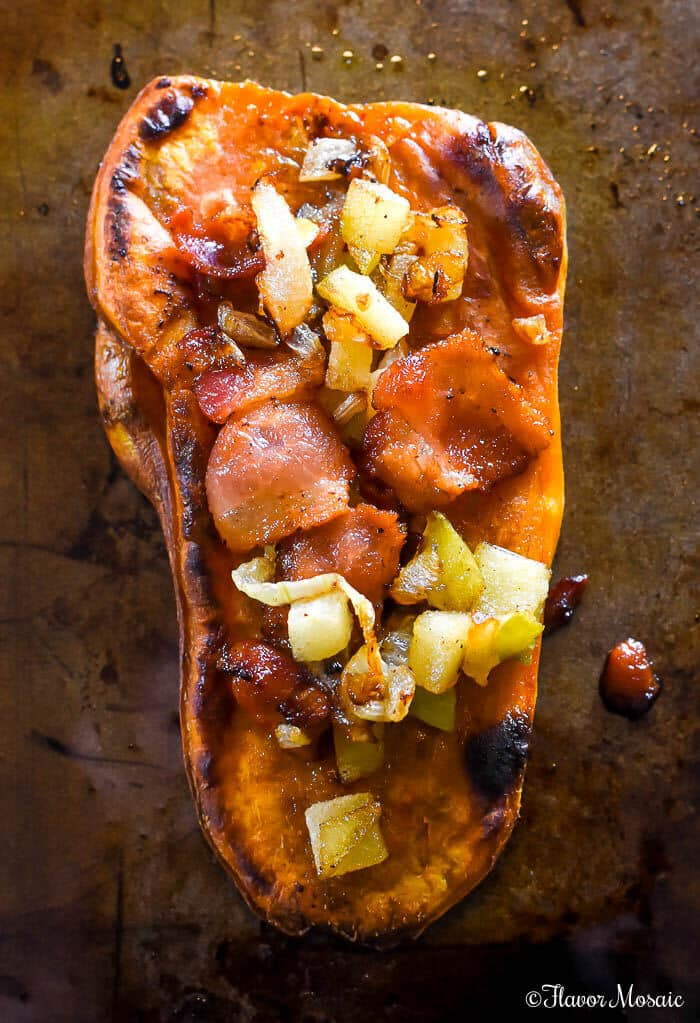 Sweet Potato Toast with Apples, Bacon and Blue Cheese