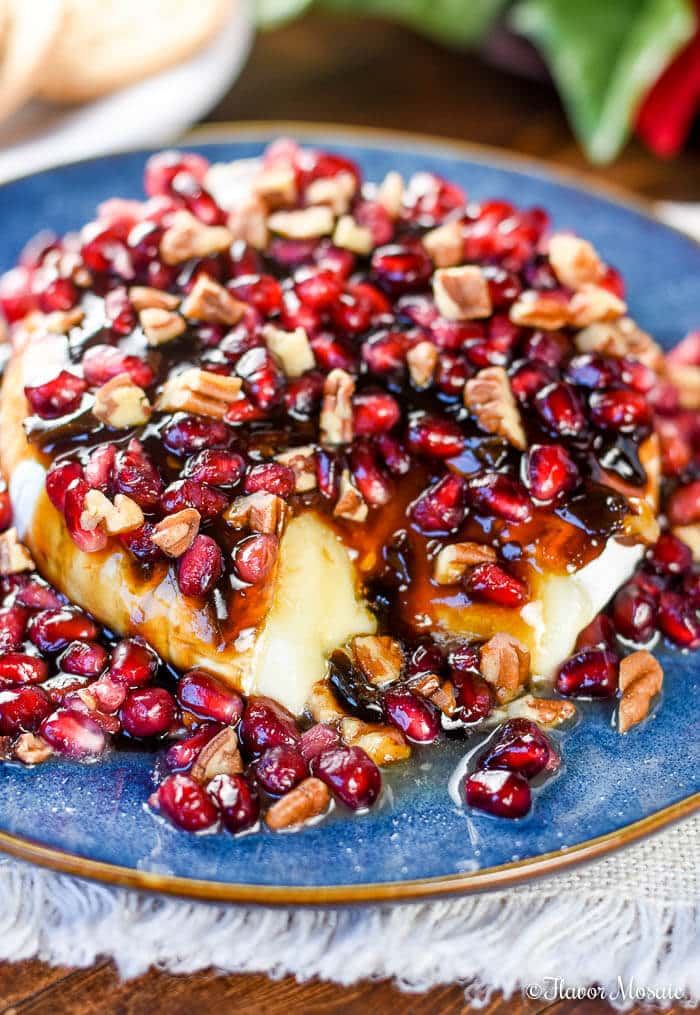 Brie Cheese Appetizer with Balsamic Jalapeño Reduction, Pomegranates and Pecans