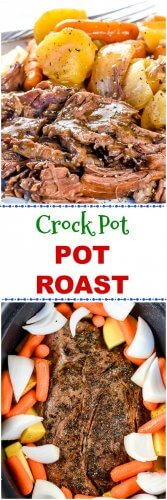 Crock Pot Chuck Roast with Roasted Potatoes and Carrots Long Pin