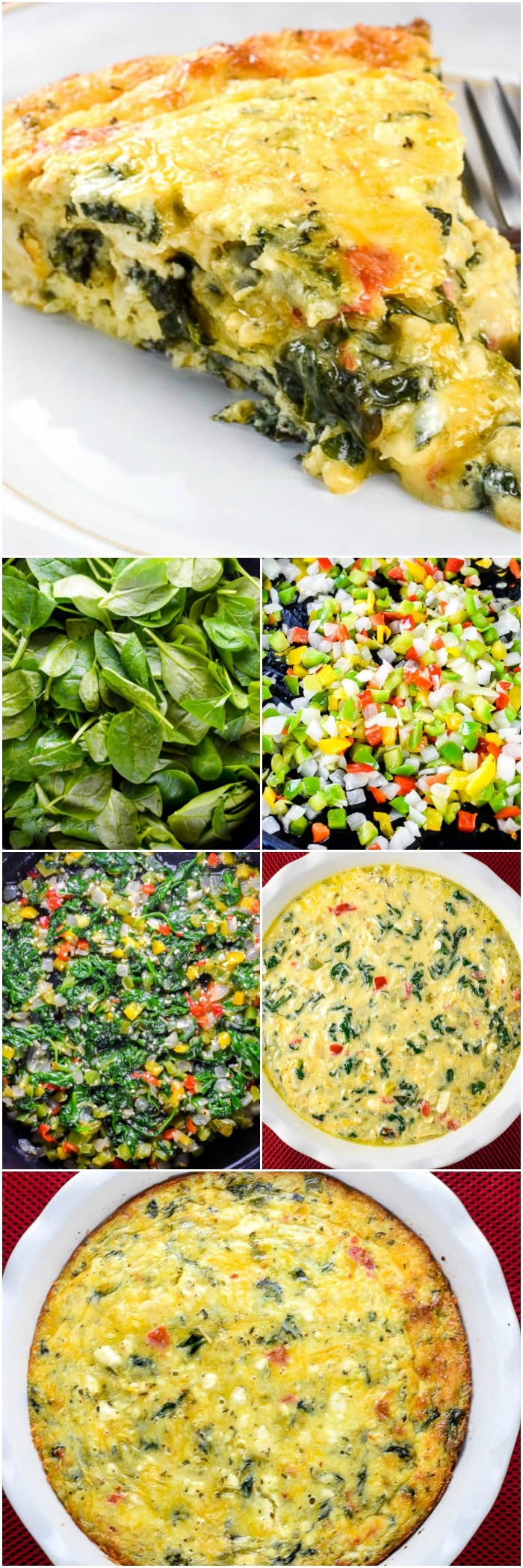 This low carb Crustless Spinach Quiche is a creamy, cheesy egg breakfast casserole loaded with spinach and vegetables, Greek Seasoning, and feta cheese, which makes an easy and delicious gluten free breakfast! #Breakfast #Brunch #CrustlessQuiche