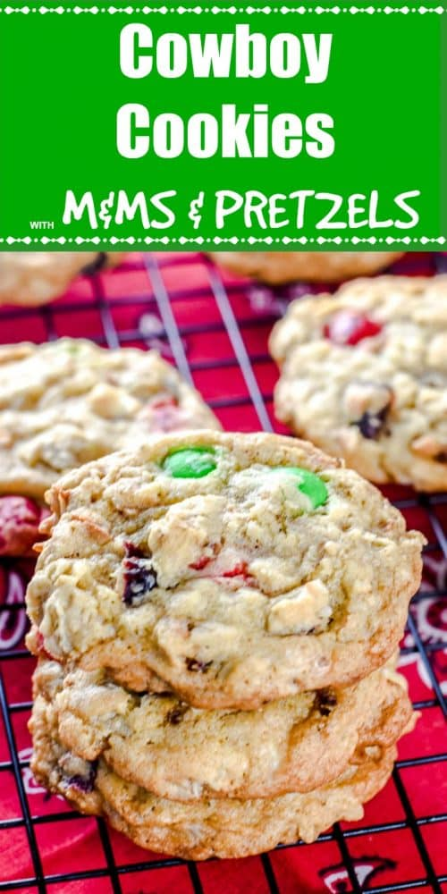 Cowboy Cookies with M&Ms and Pretzels