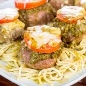 Pesto Baked Turkey Meatballs-Cheese-Stuffed