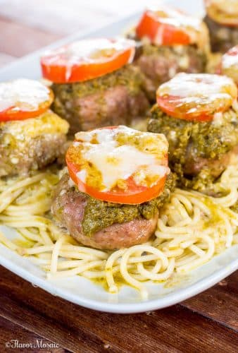Pesto Baked Turkey Meatballs-Cheese-Stuffed