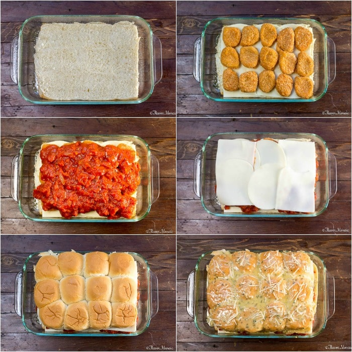 Chicken Parmesan Sliders - How to Make Chicken Parmesan Sliders - Process Photo Collage