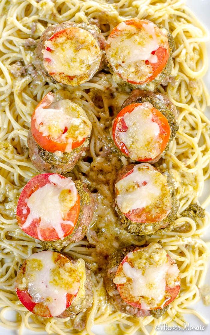 Pesto Baked Italian Turkey Meatballs - Cheese-Stuffed