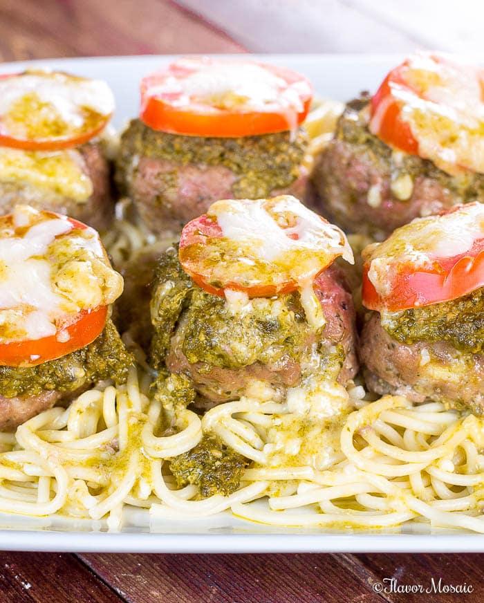 Pesto Baked Turkey Italian Meatballs-Cheese-Stuffed