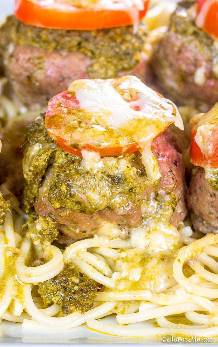 Pesto Baked Italian Turkey Meatballs-Cheese-Stuffed
