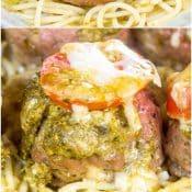 Pesto Cheese-Stuffed Turkey Meatballs