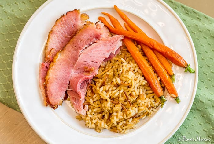 Honey Glazed Carrots with ham and rice pilaf