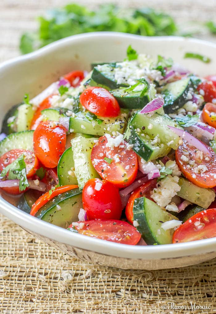Cucumber Tomato Salad with a Mexican Twist