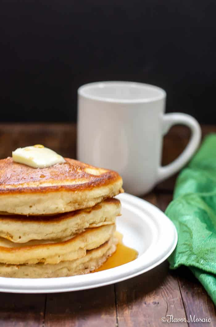 Old Fashioned Fluffy Pancakes for breakfast with coffee