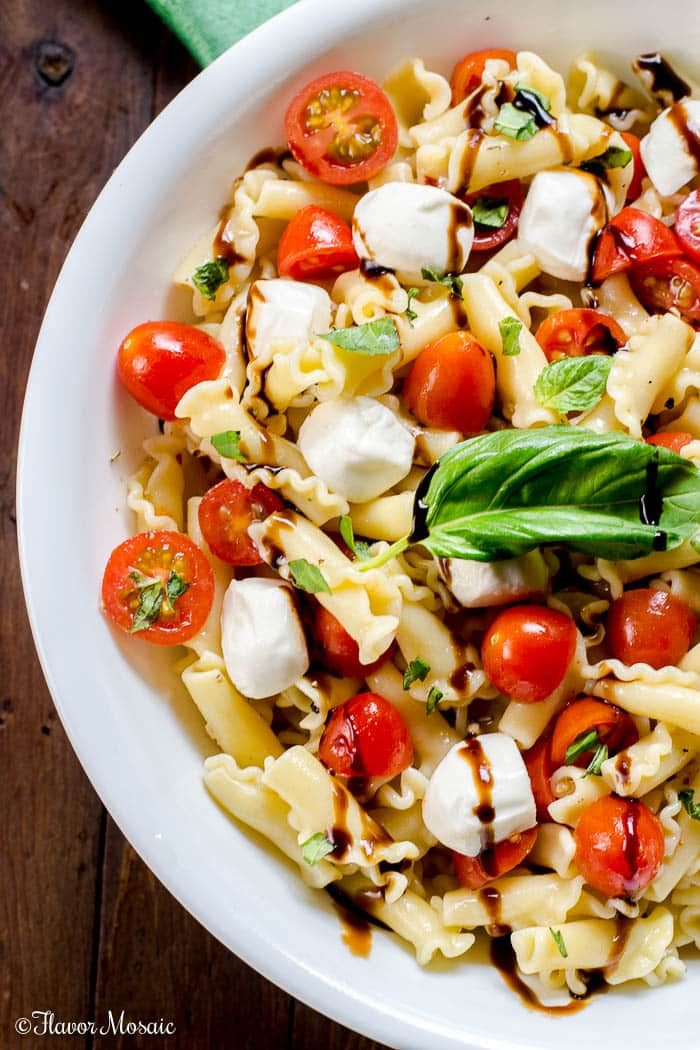 Caprese Pasta Salad Recipe with a Balsamic Glaze