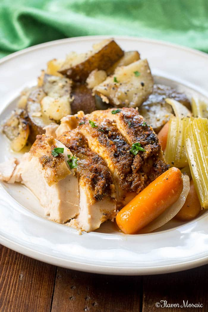 Crockpot Roast Chicken makes a wonderful main dish, Sunday supper, or holiday dinner.
