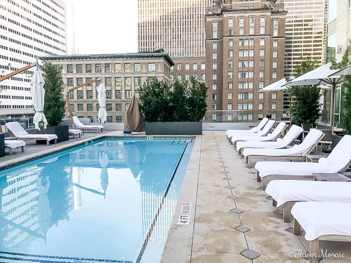 Hotel Alessandra a modern luxury hotel in downtown Houston, Texas. Beat the heat in this gorgeous swimming pool.