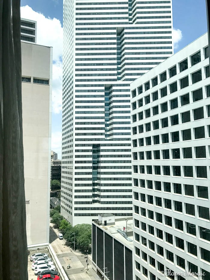 Hotel Alessandra a modern luxury hotel in downtown Houston, Texas. View from room.