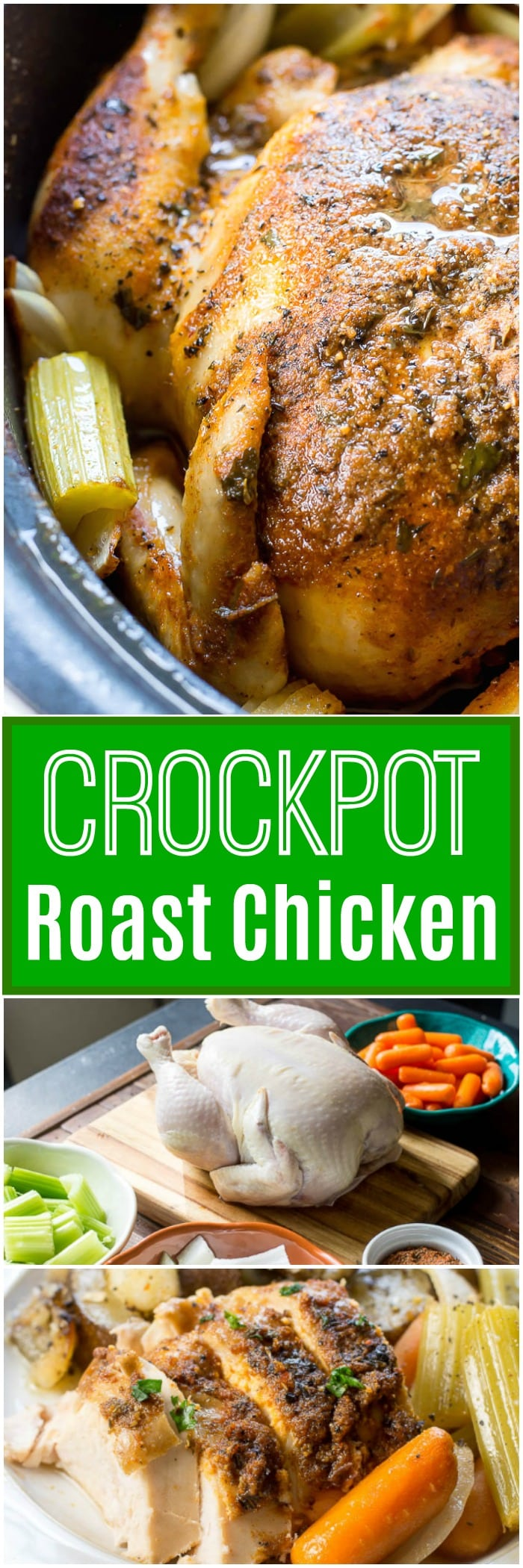Crockpot Roast Chicken - Crock Pot or Slow Cooker Roast Chicken