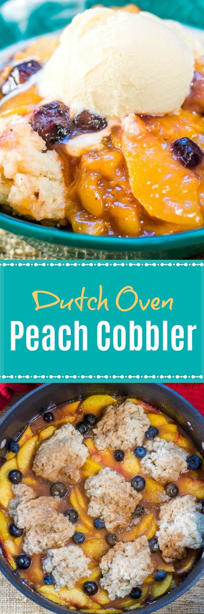 Dutch Oven Peach Cobbler with Fresh Peaches