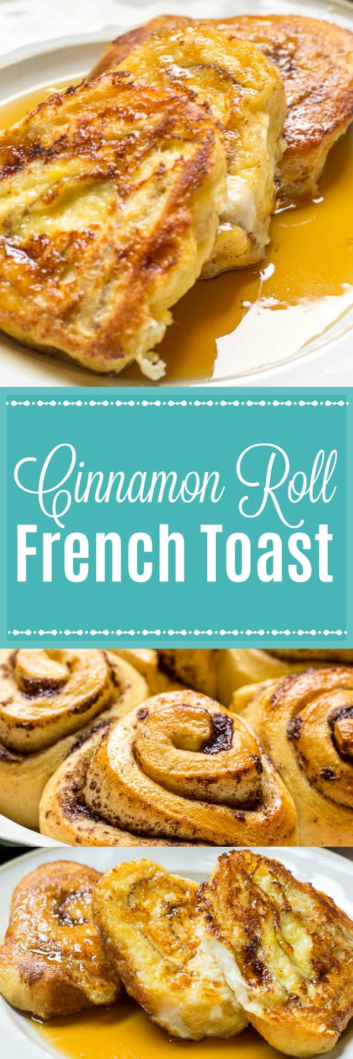 This Cinnamon Roll French Toast recipe turns your favorite cinnamon rolls into sticky, sweet delicious French toast for an over-the-top breakfast or brunch!