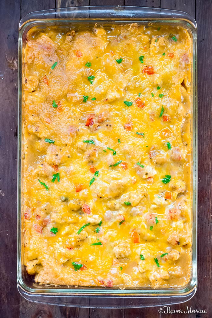 Cooked King Ranch Chicken Casserole Out of The Oven