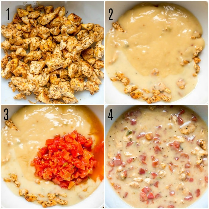 Steps 1 - 4 for How to Make King Ranch Chicken Casserole