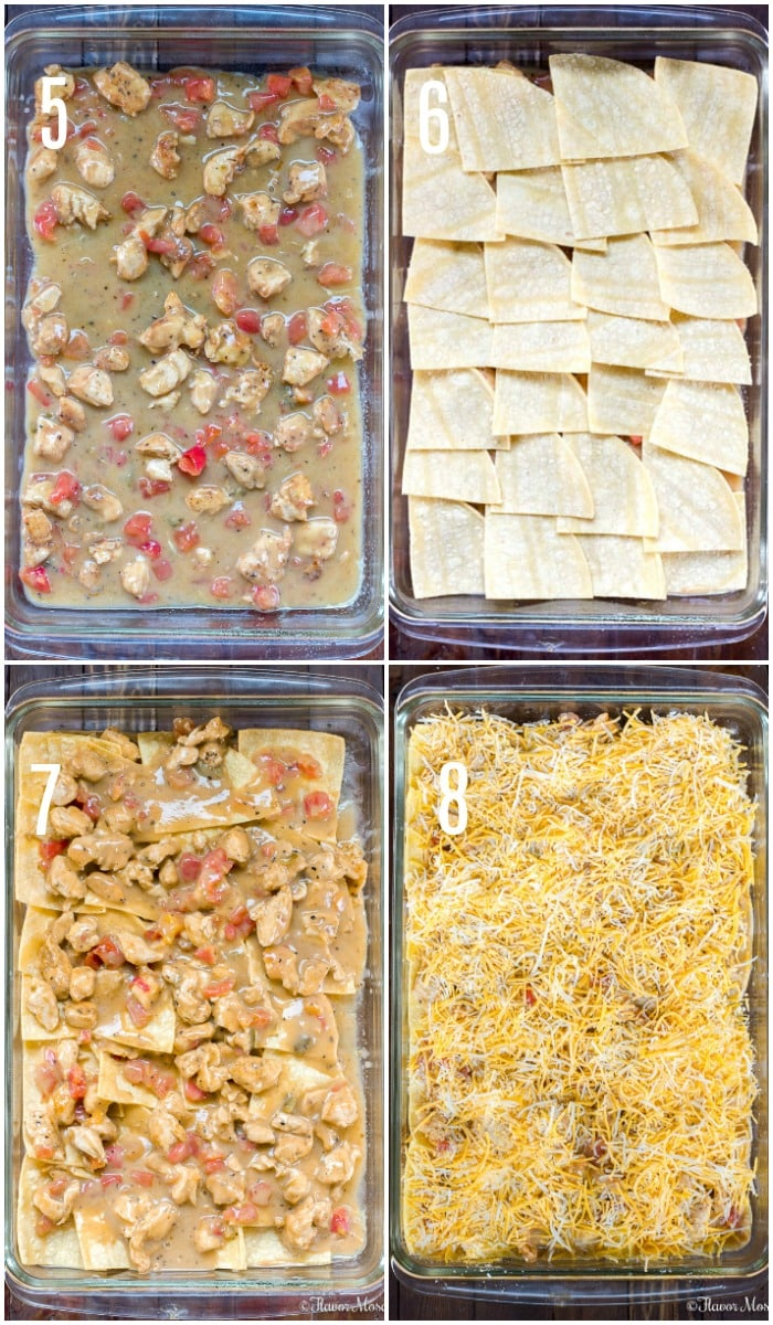 Steps 5 - 8 for How To Make King Ranch Chicken Casserole
