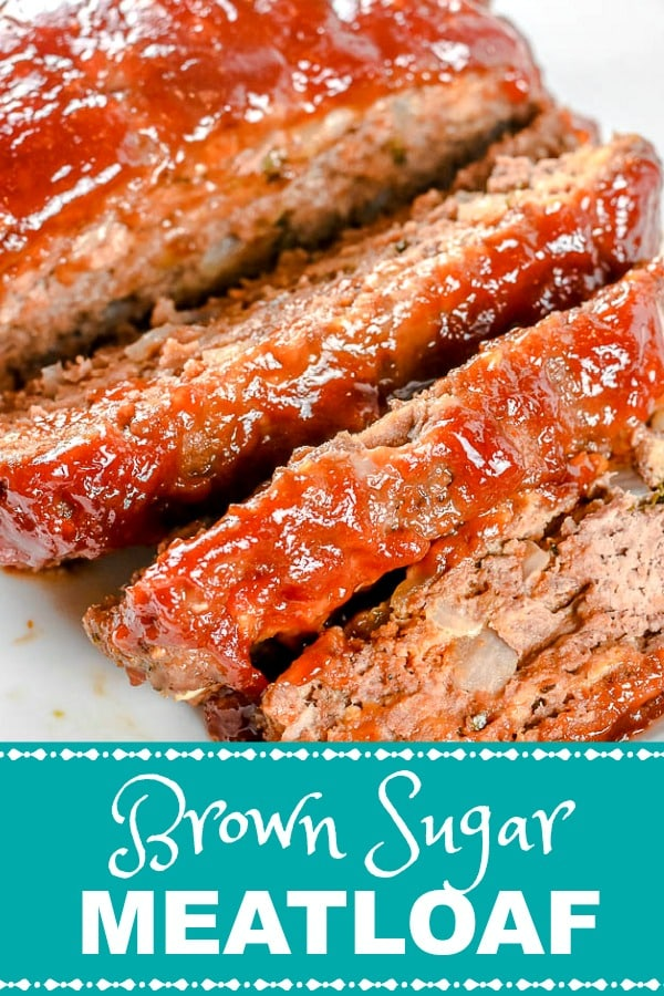 Brown Sugar Meatloaf Pin Overhead photo with teal label
