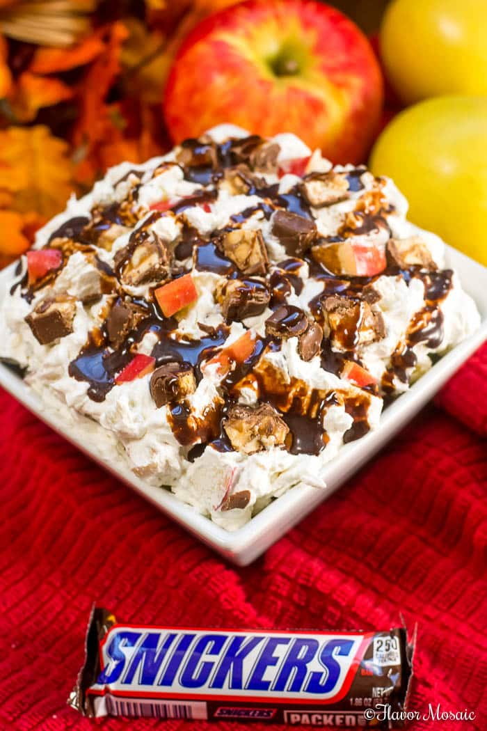 Snicker Apple Salad requires only 4 ingredients for a yummy snack or dessert.