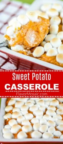 Sweet Potato Casserole with Marshmallows giraffe pin red label