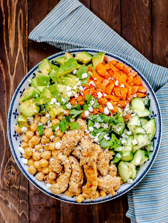 Turkey Avocado Cucumber Chickpea Salad