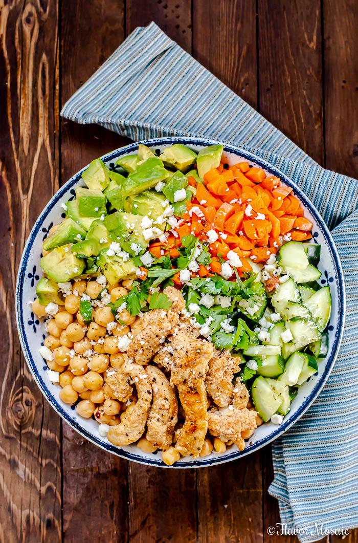 Turkey Avocado Cucumber Chickpea Salad