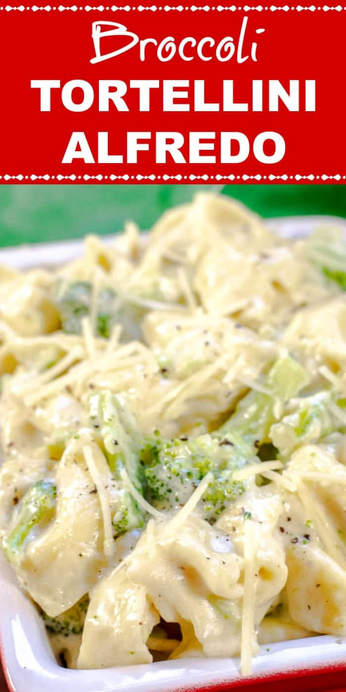 Broccoli Tortellini Alfredo Close-Up with Title with red background and white text