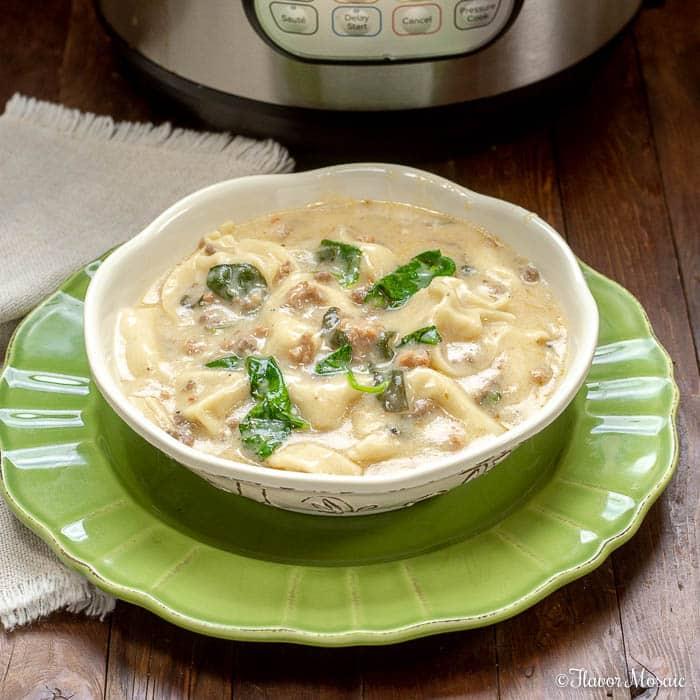 Creamy Instant Pot Italian Sausage Tortellini Soup