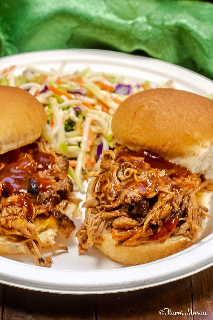This Instant Pot Pulled Pork with a Dr Pepper BBQ Sauce is sweet and tangy and makes awesome pulled pork sandwiches or tacos for game day or a barbecue.