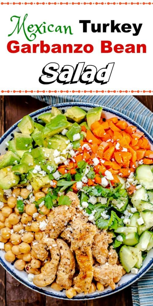 This Mexican Turkey Garbanzo Bean Salad, or Chickpea Salad, with a Cilantro Lime Vinaigrette, is fresh, vibrant, colorful and healthy, and a delicious way to keep thosenew year's resolutions!