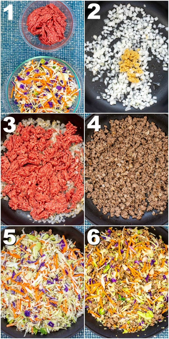 Eggroll In A Bowl (Crack Slaw) Step By Step Process Photos showing steps 1 - 6.