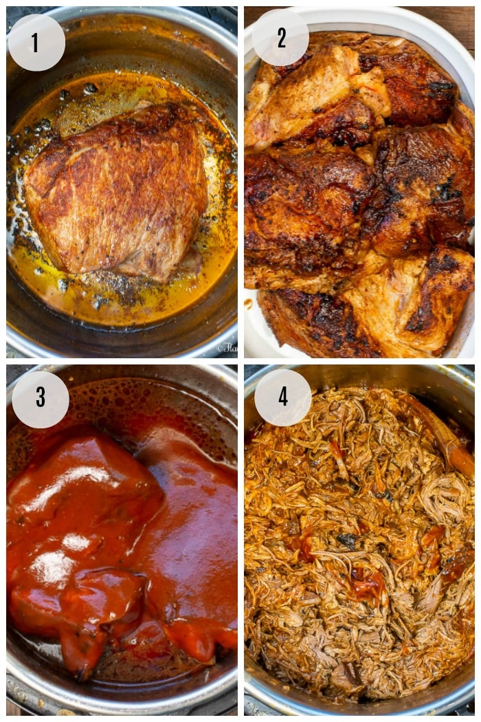 Instant Pot Pulled Pork with Dr Pepper BBQ Sauce Step by Step Instructions