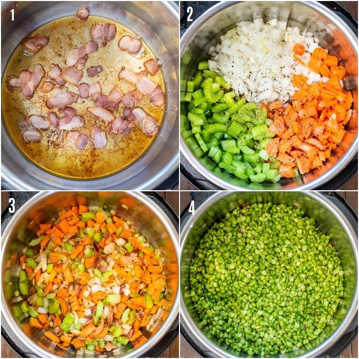 Instant Pot Split Pea Soup Proc Shots Steps 1 - 4