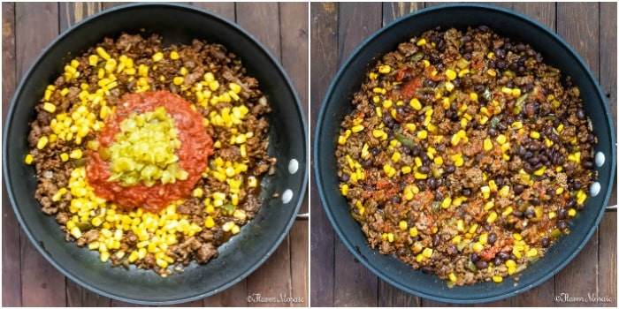 One Pot Mexican Beef And Rice Casserole cooking steps salsa corn green chilies