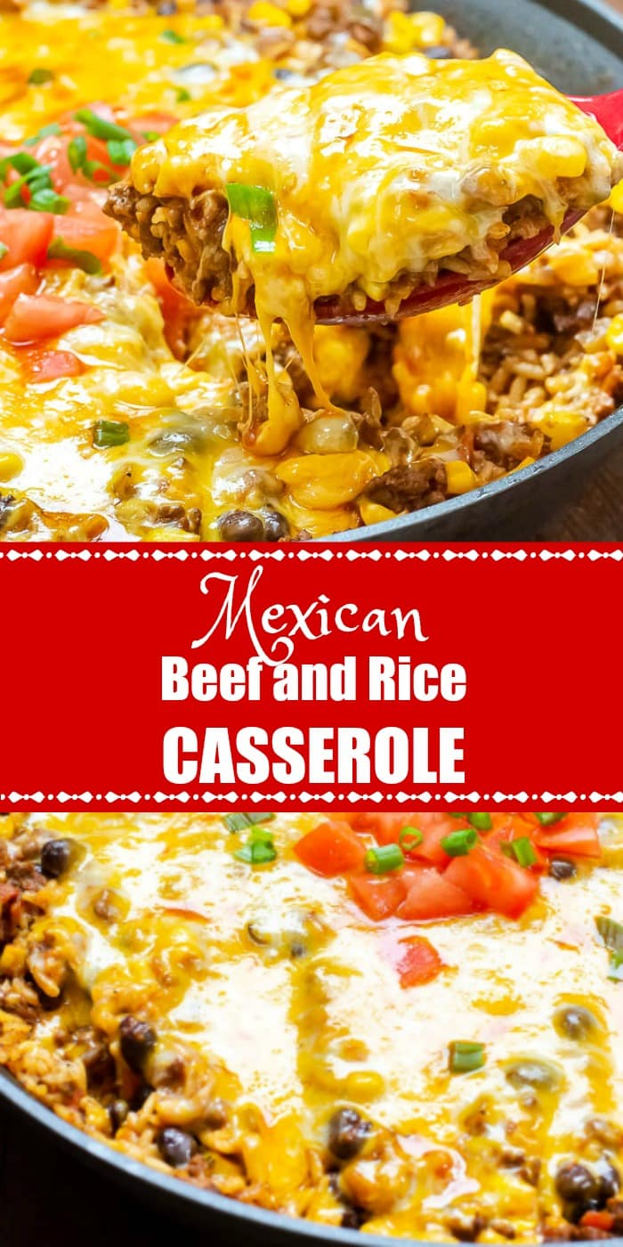 One Pot Mexican Beef and Rice Casserole Long Pin