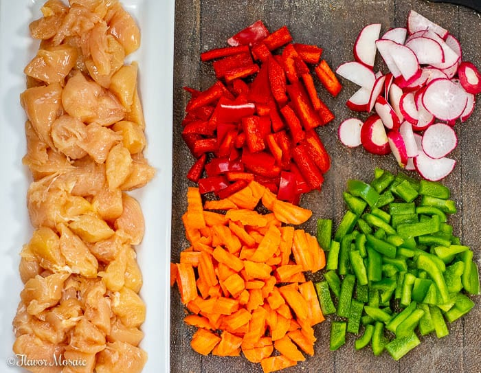 Overhead photo of Ingredients for Teriyaki Chicken Stir Fry