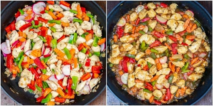 Teriyaki Chicken Stir Fry cooking chicken and veggies