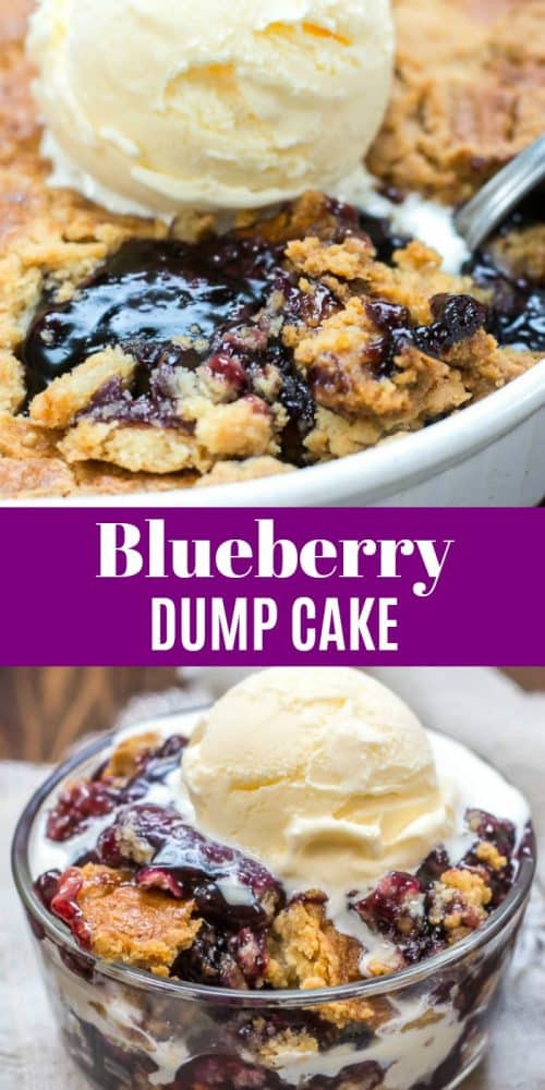 Blueberry Dump Cake long pin with picture of dump cake in pan showing blueberry filling, followed by recipe title in white letters over purple background with a single serving of dump cake below title.